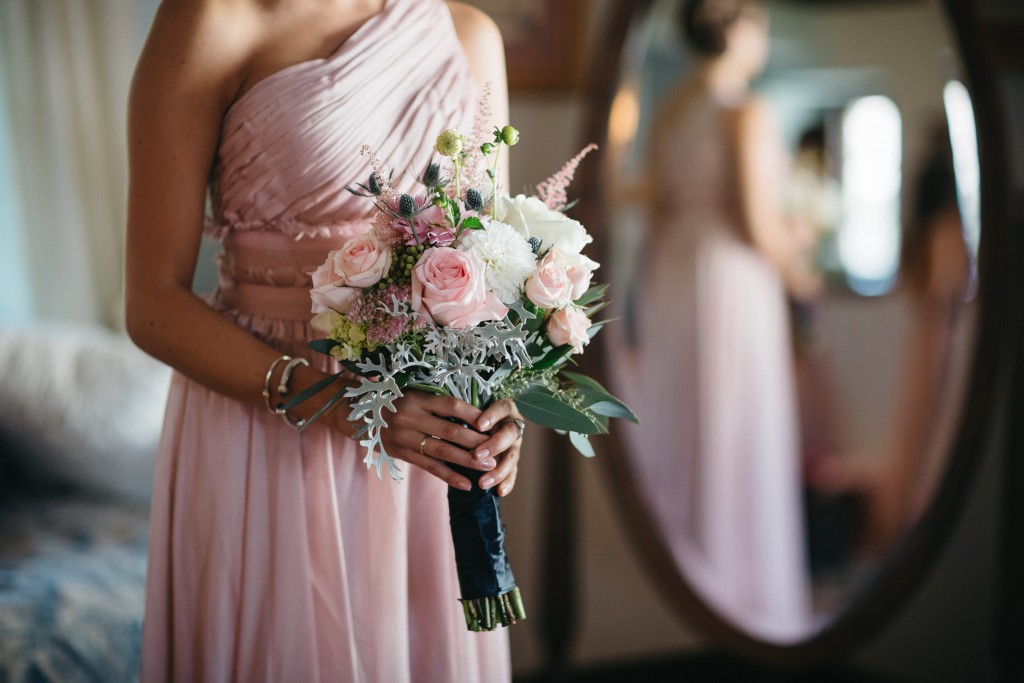 Blush pink flowers and makeup